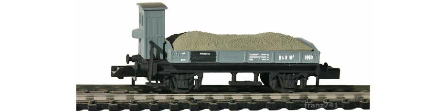 Swisstoys-72-M3-Niederbordwagen-Bremserhaus-grau-BLS-Schotter-Ladung