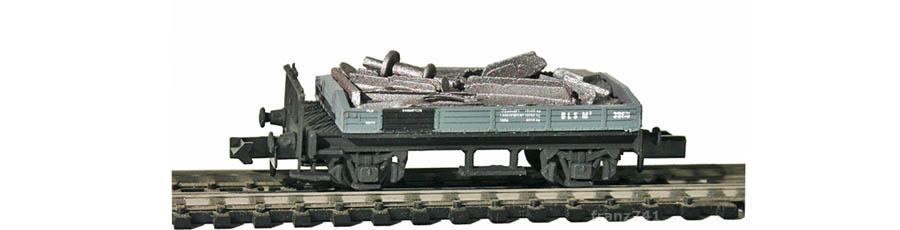 Swisstoys-78-M3-Niederbordwagen-grau-BLS-Metallschrott-Ladung