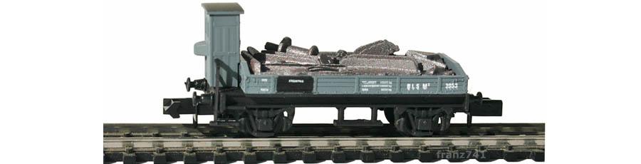 Swisstoys-79-M3-Niederbordwagen-Bremserhaus-grau-BLS-Metallschrott-Ladung