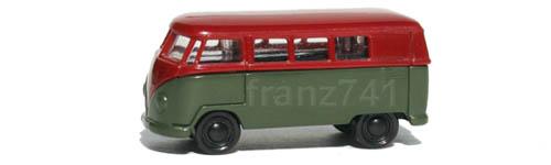 PKWs-Rietze-15601-VW-Bully-Bus-T1-gruen-rot