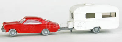 PKWs-Wiking-922-xx-x-Opel-Record-rot-1-achs-Wohnwagen
