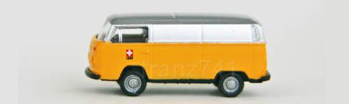 Lemke-Minis-LC3855-VW-T2-PTT-Lieferwagen-Schweizer-Kreuz-Logo