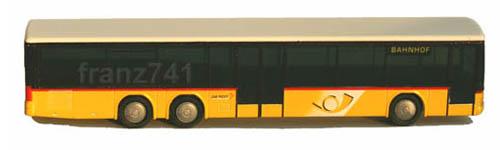 Rietze-16067-Setra-319-PTT-Bus-Ziel-Bahnhof-Posthorn-Logo-neu