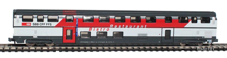 Kato-Hobbytrain-25112-DoSto-Personenwagen-SBB-2Klasse-Restaurant-Bistro