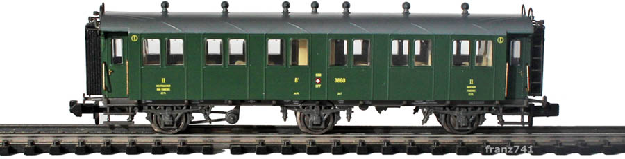 Piko-94340-2-Set-3-Achs-Personenwagen-3860-SBB-2Klasse-geschlossene-Plattform