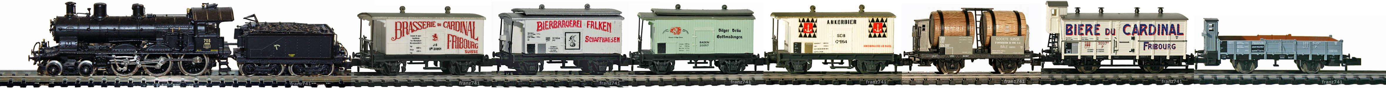 Epoche-I-SBB-Zugskomposition-Damflok-A-3-5-private-Gueterwagen