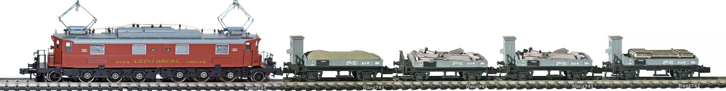Epoche-II-BLS-Gueterzug_Be-6-8-Elok-Bremserhaus-Gueterwagen
