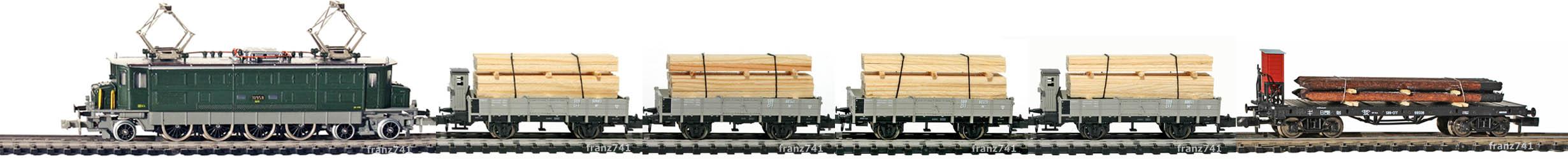 Epoche-II-III-SBB-Holz-Gueterzug_Ae-4-7-Elok-Bremserhaus-Gueterwagen
