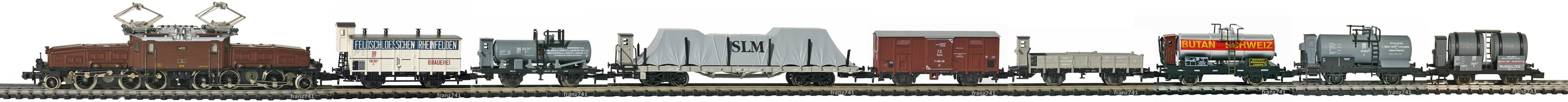 Epoche-II-SBB-Gotthard-Gueterzug_Ce-6-8-II-Elok-Gueterwagen-Typ-M3-M9
