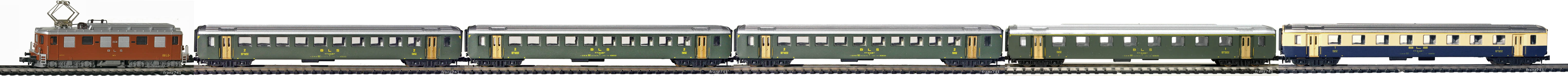 Epoche-III-BLS-EW-I-Personenzug_Ae-4-4-Elok-EW-I-Wagen-alte-Beschriftung