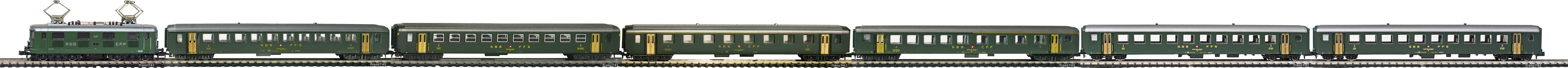 Epoche-III-SBB-Personenzug_Re-4-4-I-Elok-EW-I-EW-II-Wagen-altes-Logo