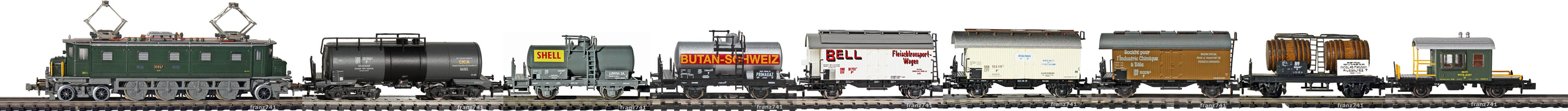 Epoche-III-SBB-Zugskomposition-private-Kessel-und-Kuehl-Gueterwagen