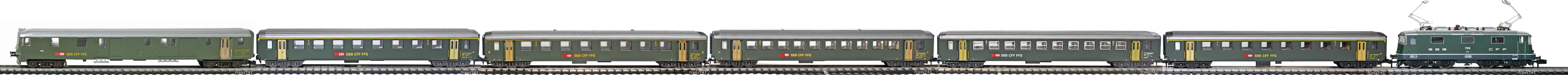 Epoche-IV-SBB-EW-I-Personenzug_Re-4-4-II-Elok-DZt-EW-I-Wagen-neues-Logo