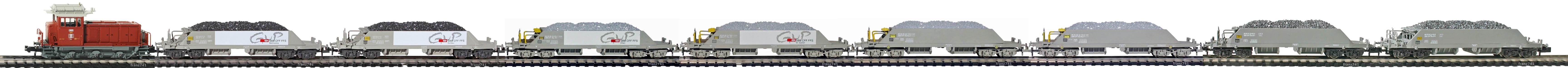 Epoche-IV-SBB-Neuschotter-Gueterzug_Em-3-3-Diesellok-Schotterwagen-Typ-Xas